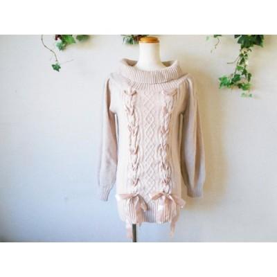 レストローズ LEST ROSE 秋冬 向き リボン の 可愛い オフタートル セーター 2