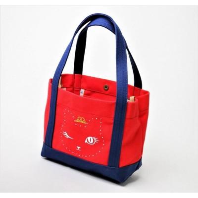 KOBE猫ウィンキートートバッグ 赤×紺 Lサイズ
