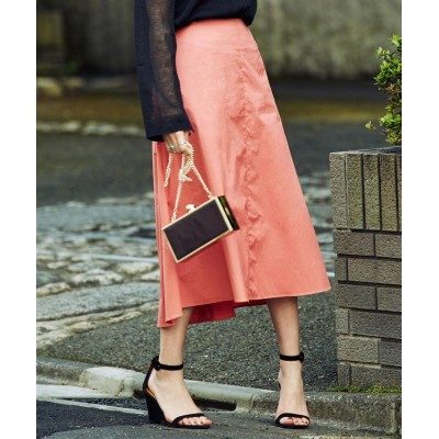 (BEAMS OUTLET/ビームス アウトレット)Demi-Luxe BEAMS / 切替フレアスカート/レディース CORAL