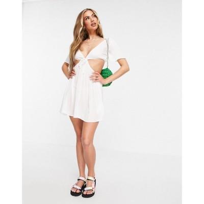 ミスガイデッド Missguided レディース ワンピース Vネック ミニ丈 ワンピース・ドレス mini dress cover up with cut out v neck in white ホワイト