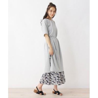 SHOO・LA・RUE/シューラルー 【2点セット】綿Tシャツワンピース+スカートセット グレー(012) 03(L)