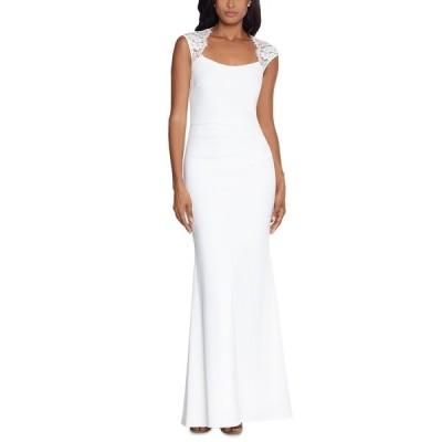 エスケープ ワンピース トップス レディース Lace-Trim Cutout-Back Gown Ivory