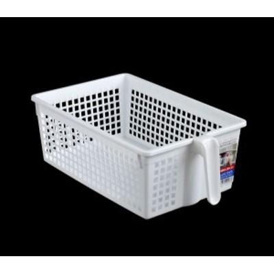 収納バスケット ハンドル付 ワイドサイズ ホワイト