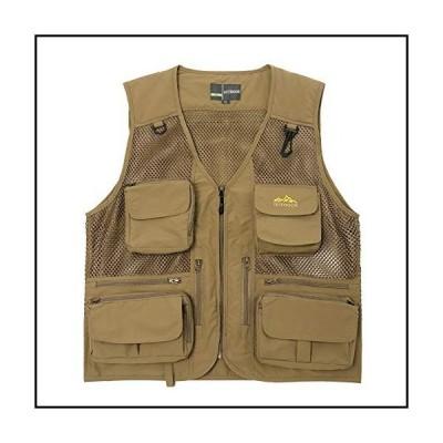 【新品】Ziker Men's Mesh Breathable Openwork Camouflage Journalist Photographer Fishing Vest Waistcoat Jacket Coat (Khaki02, X-Large)【