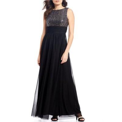 ジェシカハワード レディース ワンピース トップス Petite Size Sleeveless Ruched Waist Sequin Mesh Gown