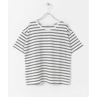 Sonny Label/サニーレーベル TRUECOTTONルーズフィットTシャツ オフ×ブラック FREE