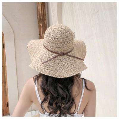 リボン付き麦わら帽子レディース折りたたみサンバイザーUVカットキャップリボン帽子日焼け防止紫外線対策日除け2020年夏新作