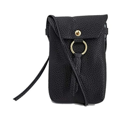 Carrotez Crossbody Leather Phone Purse for Women, Small Crossbody Bag Mini Cell Phone Pouch Shoulder Bag with 2 Straps, Card Holder, Black