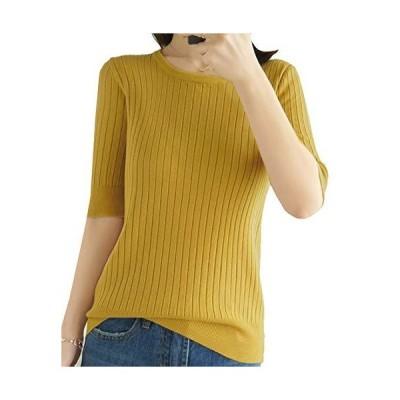 [ジョプリンアンドコー] リブニット セーター 五分袖 トップス シンプル 薄手 秋冬 きれいめ ニット にっと 5分袖 通勤 普段着 しんぷる キレ