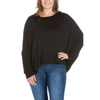 24セブンコンフォート レディース シャツ トップス Women's Plus Size Oversized Long Sleeves Dolman Top