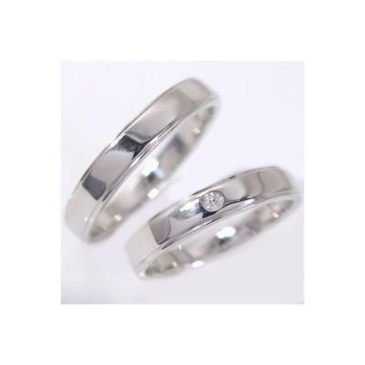 ホワイトゴールド ダイヤモンド 平打ち ストレートライン 結婚指輪 マリッジリング ペアリング ペア 2本セット K10wg 指輪 ダイヤ 0.02ct