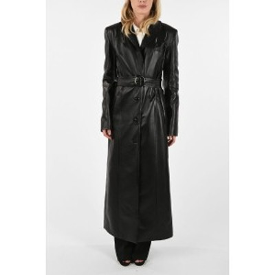 MATERIEL/マテリエル Black レディース Faux leather Cut out coat dk
