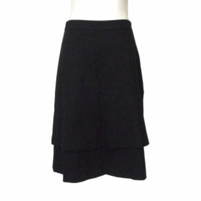 INED イネド レイヤードデザインスカート (黒 日本製 Made in Japan) 116491【中古】