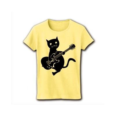 エレキギターと黒猫 リブクルーネックTシャツ(ライトイエロー)