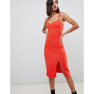 リバーアイランド レディース ワンピース トップス River Island bodycon mini dress with metal trim in red Red