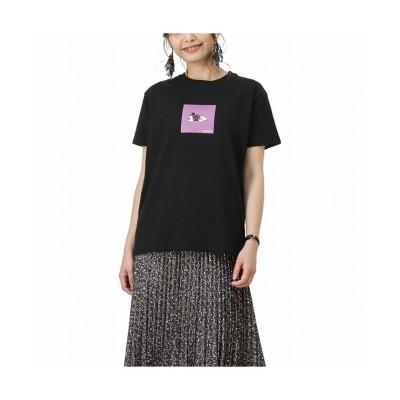 (MAC HOUSE(women)/マックハウス レディース)Disney ディズニー ミッキー/ボックスプリントTシャツ 1283-3995/レディース ブラック