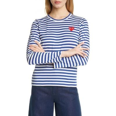 コム デ ギャルソン COMME DES GARCONS レディース Tシャツ トップス PLAY Cotton Tee Navy/White