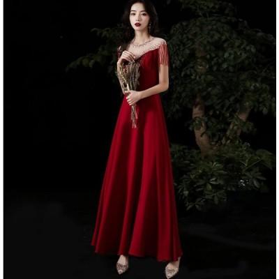 セクシー ウエディングドレス ロングドレス パーティードレス フォーマルドレス 結婚式ワンピース 二次会 40代 30代  きれいめ お呼ばれ 披露宴 Aライン