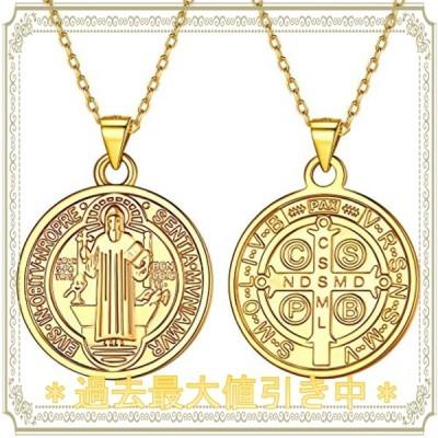 Silvora 聖ベネディクト メダイ クロス 十字架 ネックレス メンズ ゴールド k18金 コイン ペンダント レディース