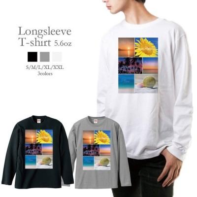 Tシャツ ロンT 長袖 メンズ 男女兼用 海 花 夏 夕日 写真 フォト メンズファッション ロングTシャツ