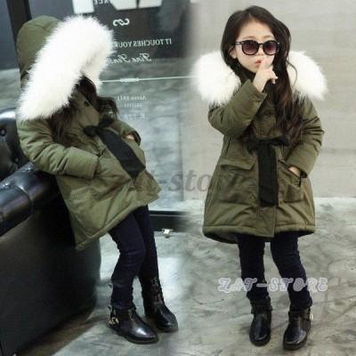 韓国子供服 アウター 女の子 モッズコート ダウンジャケット ミリタリー 中綿ジャケット キッズ ジュニア ダウンコート ファーフード付き 防寒 保温110~150