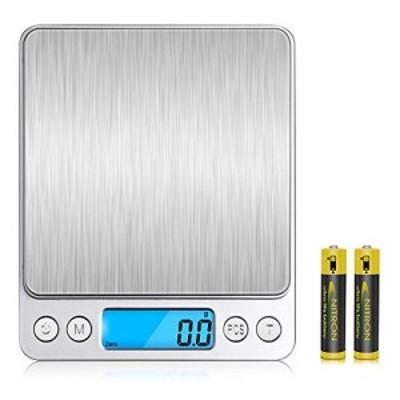 V-supre キッチンスケール デジタルスケール 電子 はかり 軽量 計り 高精度センサー 計量範囲0.1g3000g 風袋引き機能 自動オフ 電子秤 皿