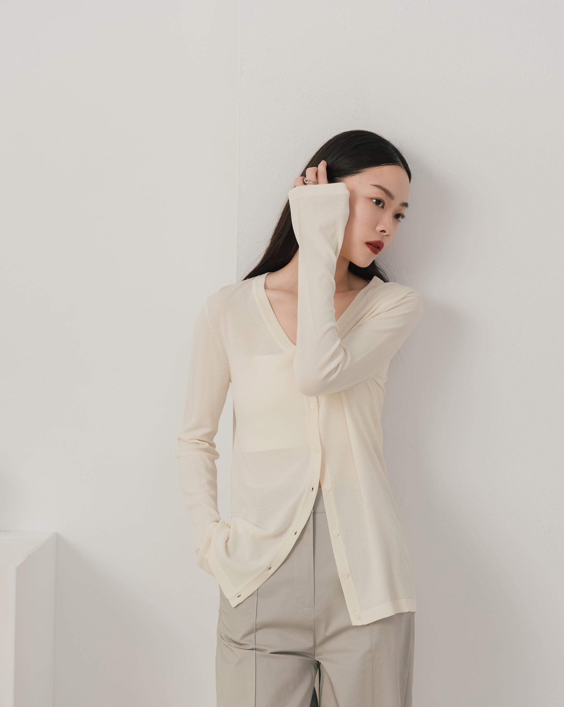 V領開襟長袖針織上衣-Meierq