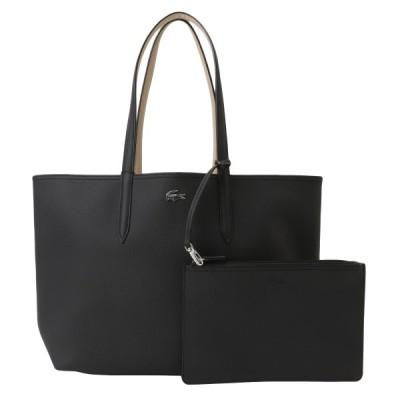 【即納】ラコステ Lacoste レディース トートバッグ バッグ Anna Shopping Bag a91 black warm sand 通勤 A4対応 ポーチ付 リバーシブル