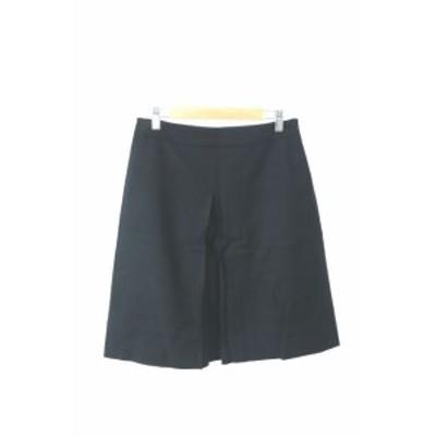 【中古】ユナイテッドアローズ UNITED ARROWS スカート 台形 ひざ丈 ウール 38 黒 ブラック /MK レディース