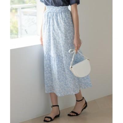 【クミキョク/組曲】 【洗える】コットンローンプリント スカート