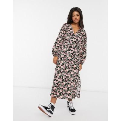 エイソス レディース ワンピース トップス ASOS DESIGN long bubble sleeve midi dress in black floral print