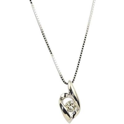 [四葉のクローバー] ダイヤモンド ネックレス 0.1カラット 40cm 10金 K10 ホワイトゴールド 一粒石 4月 誕生石 レディース 女性:G