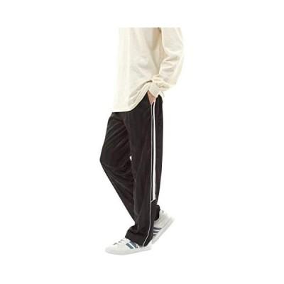 [デルレオーネ] ジャージ 下 メンズ ロング パンツ シャドーストライプ ズボン 吸水速乾 サイドライン (ブラック/ホワイト L)