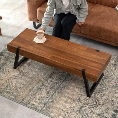 センター テーブル 木製 スチール 長方形 ロー 天然木 アイアン ソファ 家具 カフェ リビング おしゃれ シンプル ナチュラル かっこいい 北欧 西海岸 91542