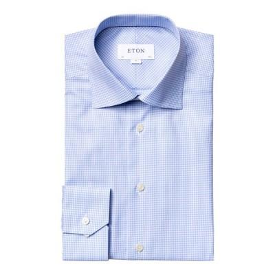 エトン メンズ シャツ トップス Men's Contemporary-Fit Ombre Check Dress Shirt