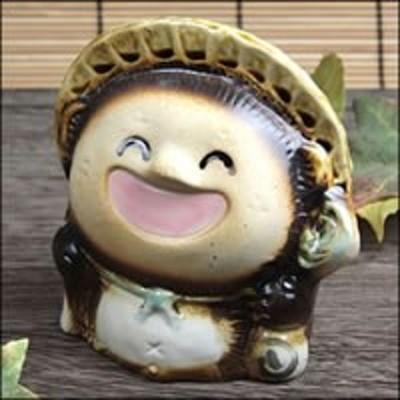 たぬき 置物 名入れ 4号笑福狸(オス) 縁起物焼信楽焼 おしゃれ 和風 陶器 【手作り】