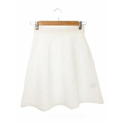 【中古】アナイ ANAYI スカート ひざ丈 台形 ジャガード 花柄 36 白 ホワイト /MN18 レディース