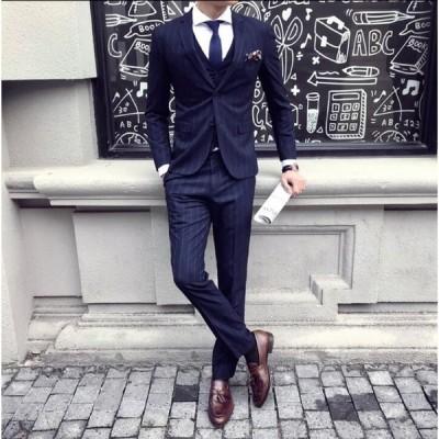 スーツ 事務服 卒園式 発表会 メンズ 細身 制服 入学式/入社/卒業式 2色入 2点セット ジャケット&ズボン 面接 ビジネス 紳士 宴会 通勤 OL オフィス 着痩せ
