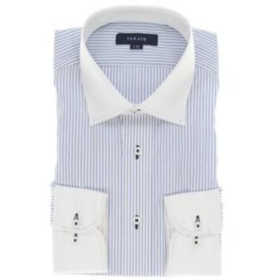 形態安定レギュラーフィット ワイドカラーダブルステッチ長袖シャツ