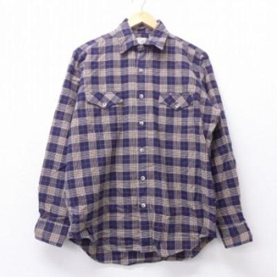 古着 長袖 フランネル シャツ 90年代 90s エルエルビーン LLBEAN USA製 紺他 ネイビー チェック XLサイズ 中古 メンズ トップス シャツ