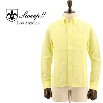 スウィープ!! ロサンゼルス SWEEP!! LosAngeles  メンズ フレンチリネン ボタンダウンシャツ French Linen YELLOW(イエロー)