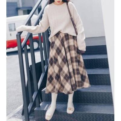 韓国 ファッション レディース スカート ミモレ丈 ウエストゴム チェック柄 ハイウエスト ゆったり レトロ ガーリー 大人可愛い 秋冬
