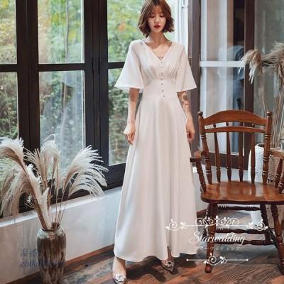 ウエディングドレス 花嫁 結婚式 韓国 大きいサイズ フォーマルドレス ブライダル ウエディングドレス 花嫁 ウェデイングドレス マキシ丈スカート 結婚式 二次会