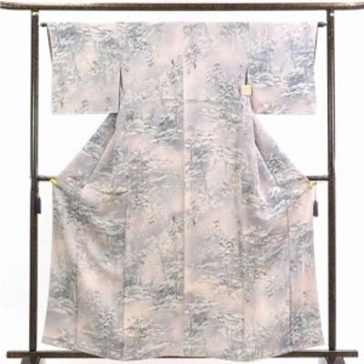 【中古】リサイクル着物 小紋 / 正絹グレーピンクぼかし袷小紋着物 / レディース【裄Mサイズ】