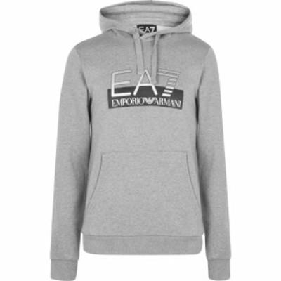 イーエーセブン EA7 メンズ パーカー トップス Visible Logo Over The Head Hoody Grey