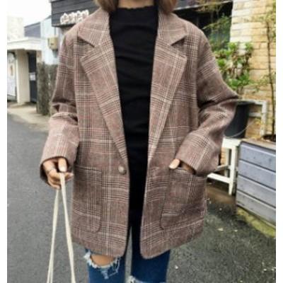 韓国 ファッション レディース グレンチェック ジャケット アウター ビッグシルエット ゆったり 大人可愛い カジュアル 通勤 レトロ