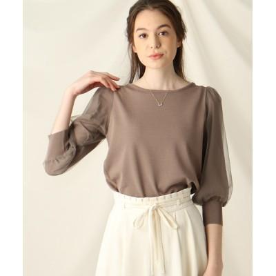 Couture brooch / 【洗える】チュールシフォンスリーブニット WOMEN トップス > ニット/セーター