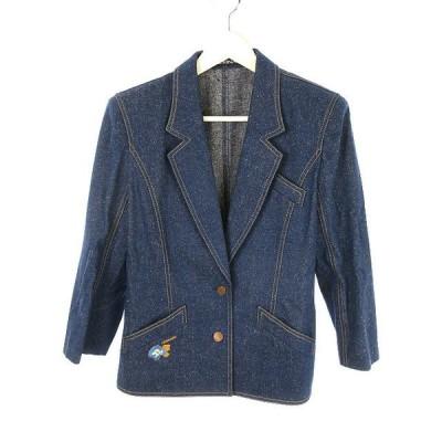 【中古】レオナール LEONARD シルク デニム テーラード ジャケット 刺繍 11 ネイビー系 ロゴ 長袖 上着 アウター レディース 【ベクトル 古着】