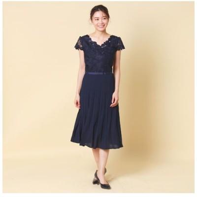 Rose Tiara/ローズティアラ ローズ刺繍×プリーツワンピース ダークブルー 36