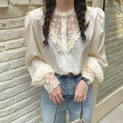 💛レースランタン長袖シャツ